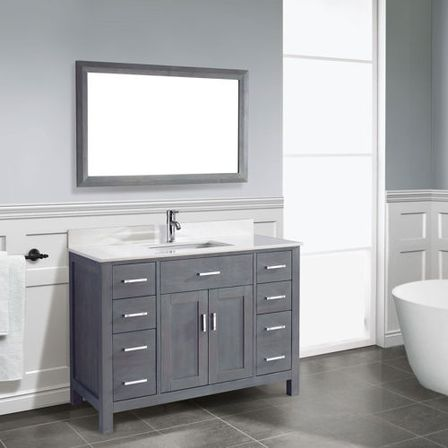 Grey bathroom vanity 12 photo bathroom designs ideas for Bathroom ideas grey vanity