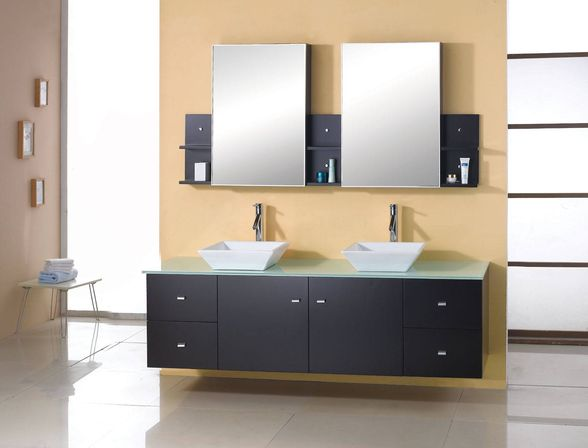 Double sink bathroom vanity 72 60 48 inch photo for Bathroom cabinet designs