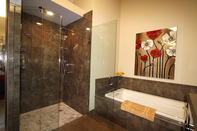 Master bathroom remodel with cabins of glass bathroom for Master bathroom designs