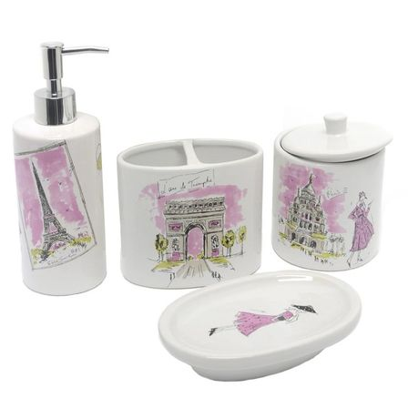 Paris bathroom decor 40 photo bathroom designs ideas for Bathroom accessories for girls