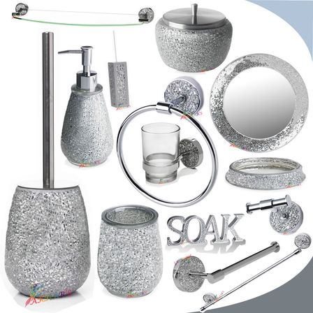 Mirrored bathroom accessories how to mix practicality and for Bathroom accessories with bling