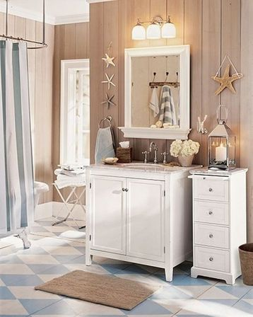 Making nautical bathroom d cor by yourself bathroom - Salle de bain style shabby ...