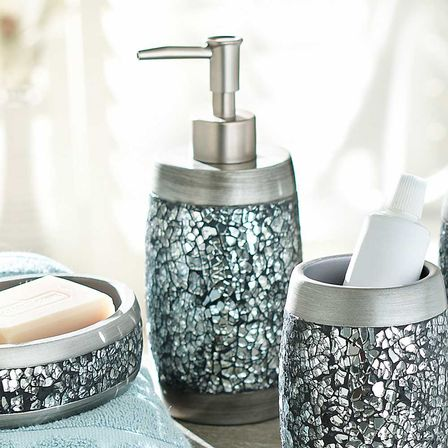Bathroom Accessories Set With Mirror : Mirrored bathroom accessories how to mix practicality and
