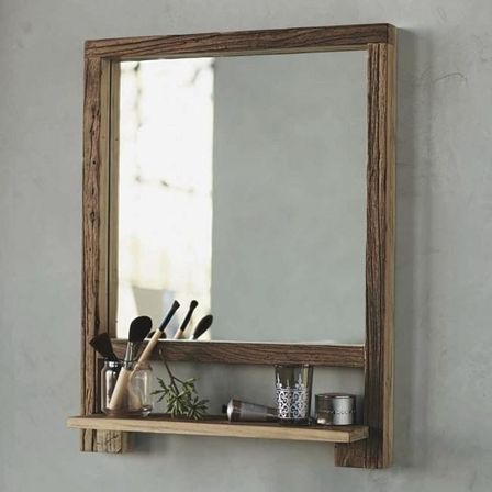 Choosing bathroom mirror with shelf: shape, materials and ...