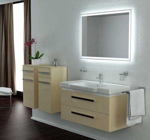 vanity with lights on mirror. Six lighting concepts for bathroom mirrors  pros and cons