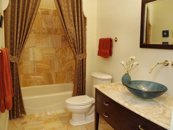 Shower Curtain As Wall Decor Bathroom Traditional With Honey Onyx Tub